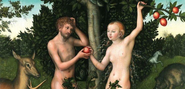 Ilustração de Adão e Eva compartilhando o fruto proibido no Jardim do Éden