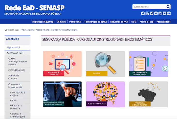 senasp ead 2020 login e cursos para area de seguranca publica