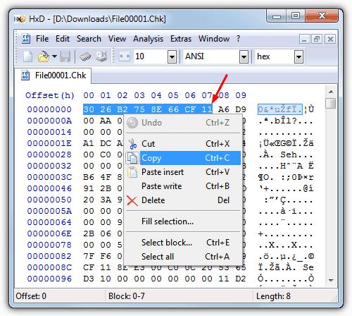 copiar bytes de cabeçalho